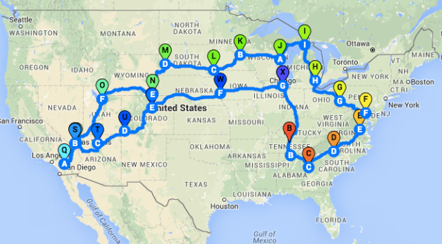 MTTS2016 Route Map